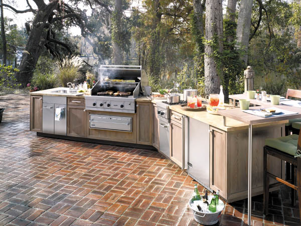 Clean ceramic tiles outdoor kitchens