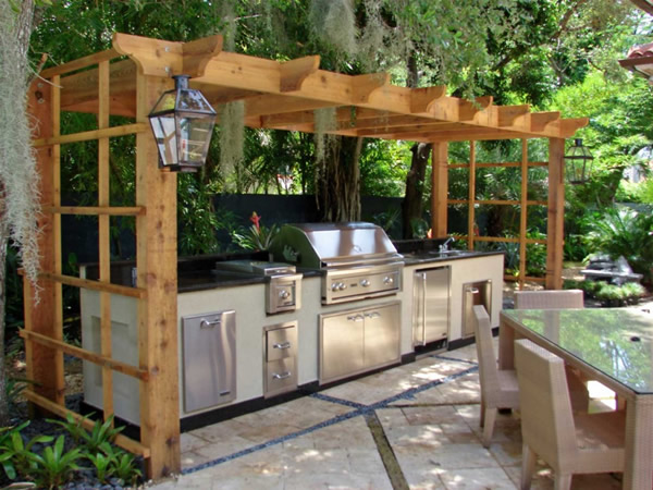 Pergola backyard kitchen