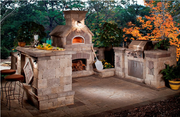 Small outdoor kitchen with fire pit